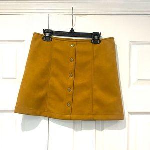 Forever 21 Mini Mustard Button Down Skirt